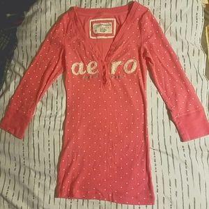 Aeropostale X-Small Pink w/ White half sleeve Top